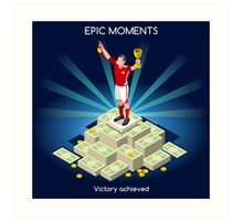 Football Champion Epic Moments Art Print