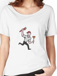 Plumber With Monkey Wrench And Plunger Cartoon Women's Relaxed Fit T-Shirt