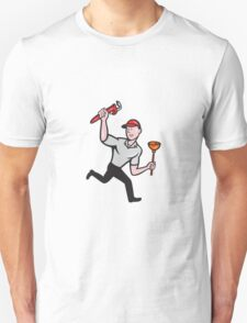Plumber With Monkey Wrench And Plunger Cartoon T-Shirt