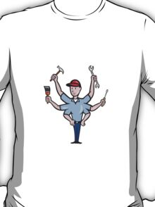 Tradesman Carpenter Mechanic Plumber Cartoon  T-Shirt