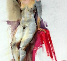 Figure in pencil and oil. by Malish