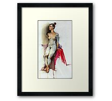 Figure in pencil and oil. Framed Print