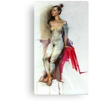 Figure in pencil and oil. Canvas Print