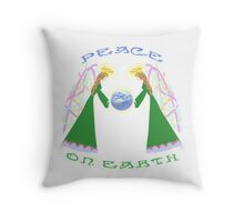 Peace On Earth – Angels Blessing Earth by Blythe Ayne Throw Pillow