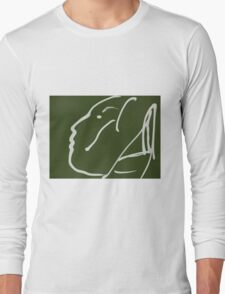 Abstact Female Head -(060914)- Digital artwork/iPad: Zen Brush App Long Sleeve T-Shirt