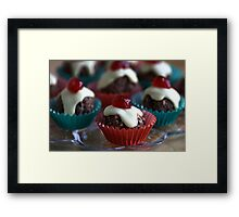 Cherry & Chocolate Cupcakes Framed Print