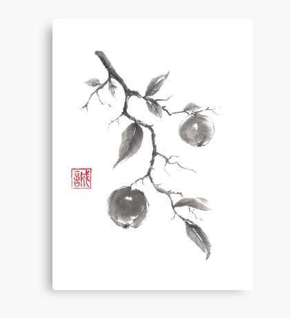 Fruits of the fall sumi-e painting Canvas Print