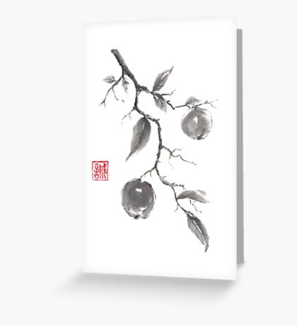 Fruits of the fall sumi-e painting Greeting Card