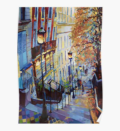 Paris Monmartr Steps Poster