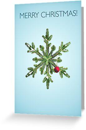 Christmas Snowy Pine Snowflake by Boriana Giormova