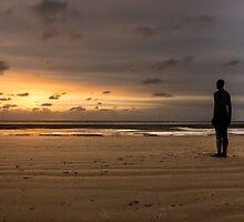 Anthony Gormley Iron Man On Crosby Beach by Paul Madden