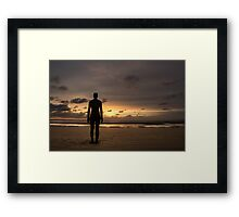 Anthony Gormley Iron Man On Crosby Beach At Sunset Framed Print