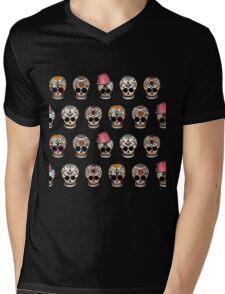 Sugar Skull 5 Design Repeat Mens V-Neck T-Shirt