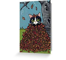 Fall Leaf Hideout Greeting Card