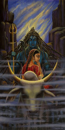 Shiva Parvati. Night in Himalayas by Vrindavan Das