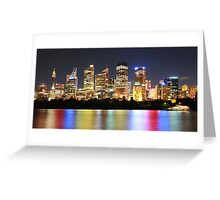 Bright cityscape at night Greeting Card