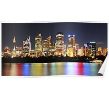 Bright cityscape at night Poster