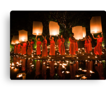 Monks and Lanterns Canvas Print