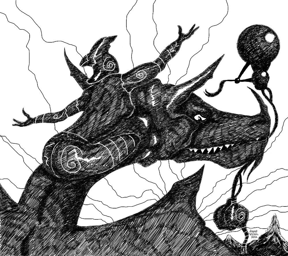 Dragon Rider in flight by Grant Wilson