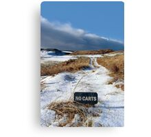 no carts sign on a snow covered links golf course Canvas Print