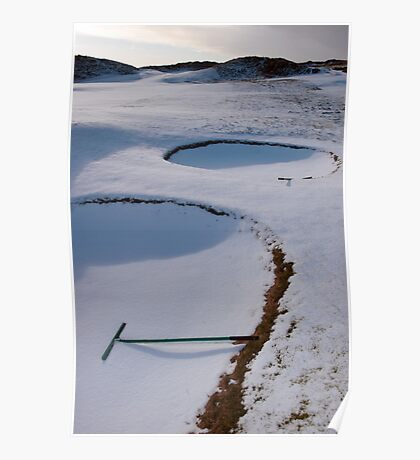 rakes in bunkers on a snow covered links golf course Poster