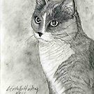 Tabby Cat Portrait by Linda Costello Hinchey
