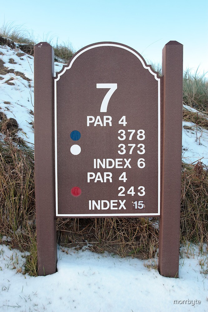 seventh tee sign on a snow covered links golf course by morrbyte