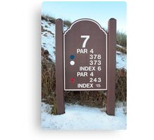seventh tee sign on a snow covered links golf course Canvas Print