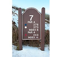 seventh tee sign on a snow covered links golf course Photographic Print