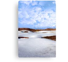 snow covered links golf course with yellow flag Canvas Print