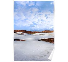 snow covered links golf course with yellow flag Poster