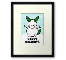 Snowman Pikachu Pokemon Card Framed Print