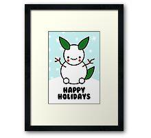 Snowman Pikachu Pokemon Card Framed Print