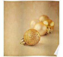 Gold glittery Christmas baubles Poster