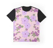 Flowers, Petals, Leaves, Blossoms - Purple Green Graphic T-Shirt