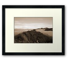 white icy snow covered sepia golf course and cliffs Framed Print