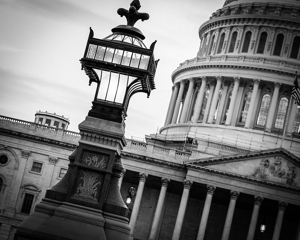 Capitol Lamp Post BW by Caroline Price