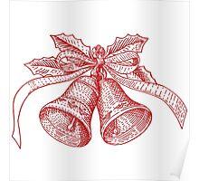 Red Vintage Christmas Bells Illustration Poster