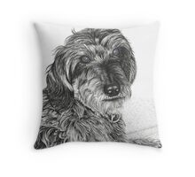 Schnell, Wire Haired Dachschund (cropped edge) Throw Pillow