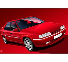 Red Citroen Xantia Activa Illustrated Poster by Autographics