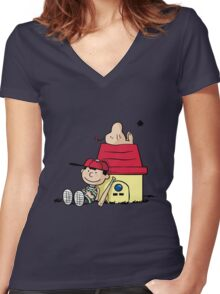 Earthbrown: A Boy and his Saturn 2.0 Women's Fitted V-Neck T-Shirt