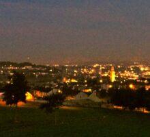 Churchfield view at night Sticker
