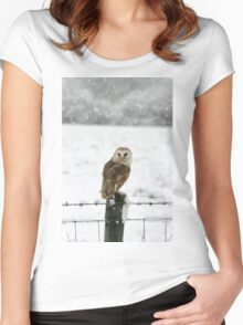 Barn Owl in snow Women's Fitted Scoop T-Shirt