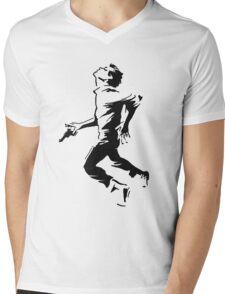 Breathless Running Man Mens V-Neck T-Shirt