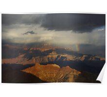 Rainbow, storm cloud and sun on Grand Canyon, Arizona Poster