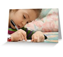 Little Girl Drawing Greeting Card