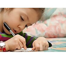 Little Girl Drawing Photographic Print