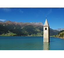 Tower of sunken church in Lago di Resia, Italy Photographic Print