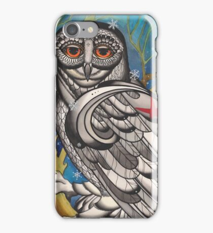 snowy owl with red star iPhone Case/Skin