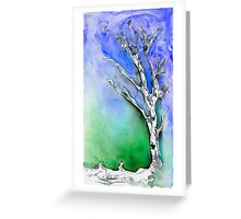 Silver Birch tree in the snow 4 Greeting Card